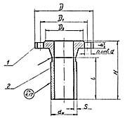 Штуцер для сосудов и аппаратов по АТК 24.218.06-90 (тип 4, исполнение 1)