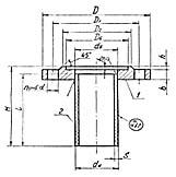 Штуцер для сосудов и аппаратов по АТК 24.218.06-90 (тип 1, исполнение 3)