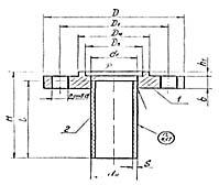 Штуцер для сосудов и аппаратов по АТК 24.218.06-90 (тип 1, исполнение 4)